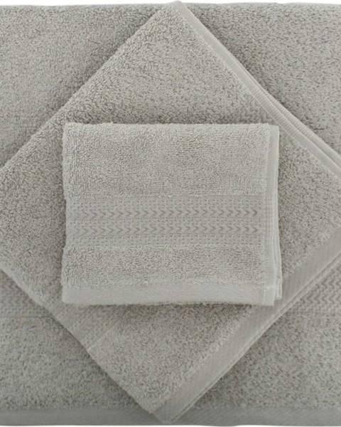Hobby Set 2 šedých bavlněných ručníků a osušky ze 100% bavlny Rainbow Gris