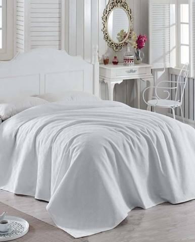 Bílý bavlněný lehký přehoz přes postel Magnona, 200 x 240 cm