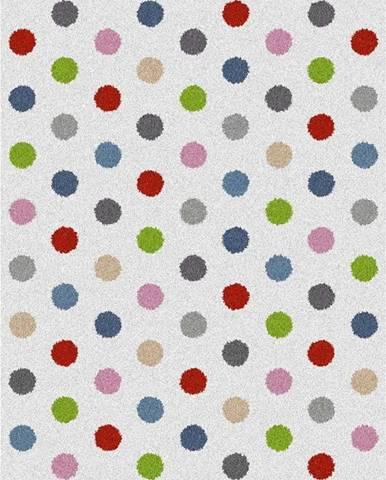 Bílý koberec Universal Norge Dots, 57x110cm