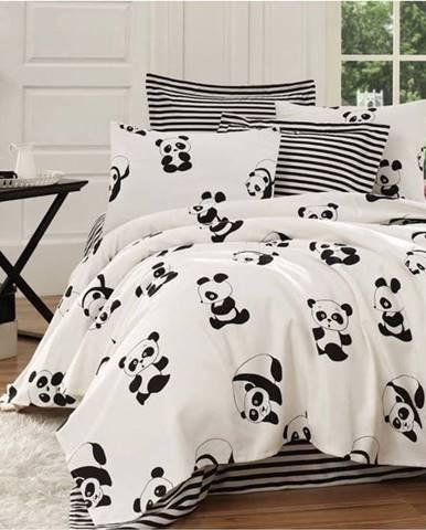 Černo-bílý lehký bavlněný přehoz přes jednolůžko Panda,140x200cm