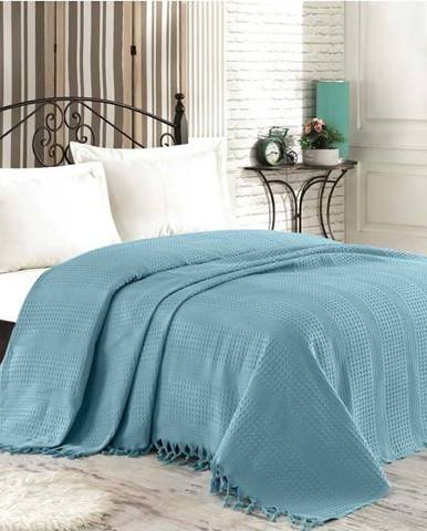 Modrý bavlněný přehoz přes postel na dvoulůžko Şaheser, 220 x 240 cm