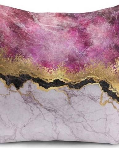 Povlak na polštář Minimalist Cushion Covers Marble With Pink And Gold, 45 x 45 cm