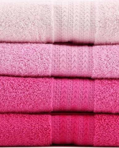 Sada 4 růžových bavlněných ručníků Rainbow,50x90cm