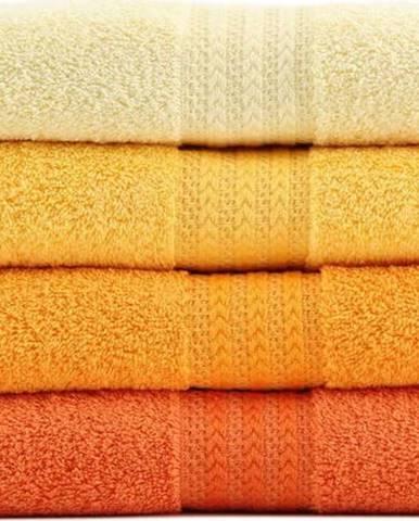 Sada 4 ručníků z bavlny Rainbow Daisy, 50x90cm