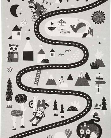 Šedo-černý dětský koberec z bavlny Södahl Drive, 95 x 130 cm