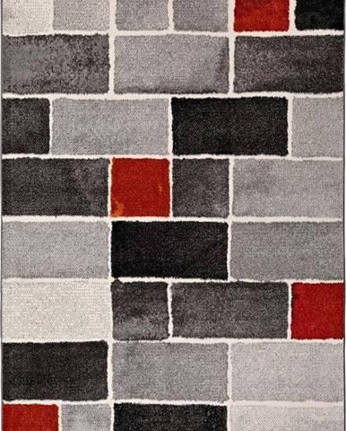 Šedo-červený koberec Universal Lucy Dice, 120x170cm