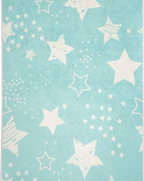 Chilai Modrý dětský protiskluzový koberec Chilai Star,100x160cm