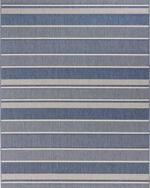 Bougari Modrý venkovní koberec Bougari Strap, 160x230cm