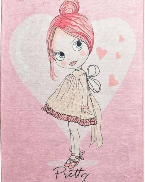 Chilai Růžový dětský protiskluzový koberec Chilai Pretty,140x190cm