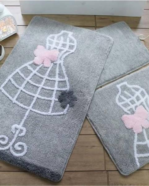 Chilai Home by Alessia Sada tří šedých koupelnových předložek s motivem šatů Knit Knot