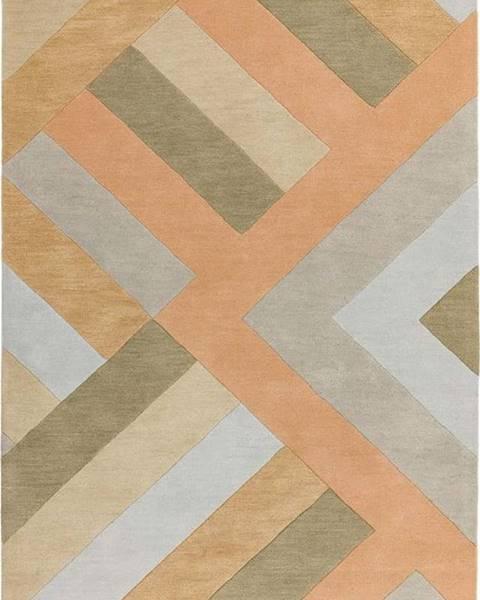 Asiatic Carpets Šedo-lososový koberec Asiatic Carpets Big Zig, 160 x 230 cm