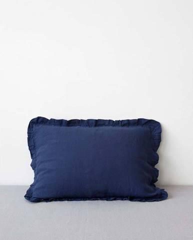 Námořnicky modrý lněný povlak na polštář s řaseným lemem Linen Tales, 50 x 60 cm