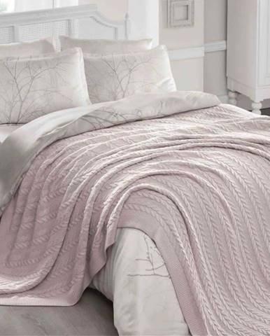 Pudrově růžový přehoz přes postel Hannola, 220 x 240 cm