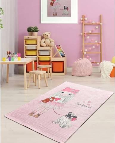 Růžový dětský protiskluzový koberec Chilai Best Friend,100x160cm