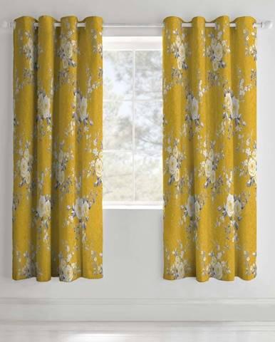 Sada 2 žlutých závěsů s motivem květin Catherine Lansfield, 168 x 183 cm