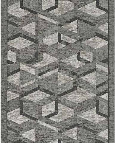 Šedo-černý běhoun Floorita Hypnotik, 55 x 190 cm