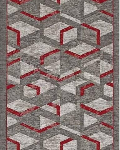 Šedo-červený běhoun Floorita Hypnotik, 55 x 190 cm
