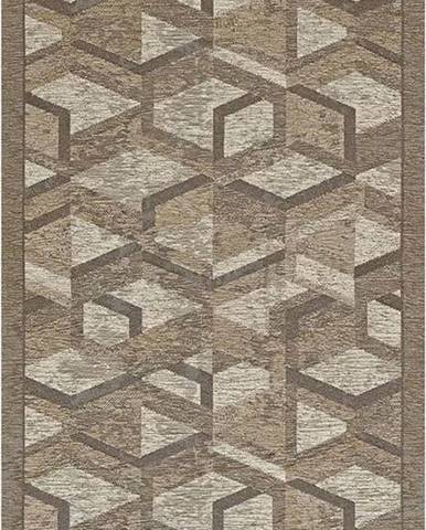 Šedo-hnědý běhoun Floorita Hypnotik, 55 x 240 cm