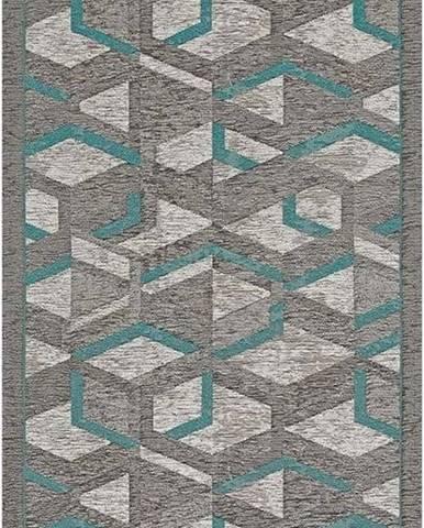 Šedo-modrý běhoun Floorita Hypnotik, 55 x 240 cm
