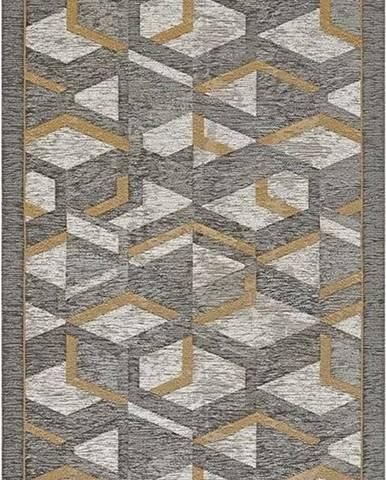 Šedo-zlatý běhoun Floorita Hypnotik, 55 x 115 cm