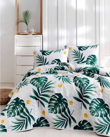 Set bavlněného přehozu přes postel a 2 povlaků na polštáře Masso Jungle, 200 x 220 cm