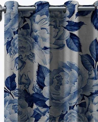 Závěs ze sametu Velvet Atelier Flowers, 140 x 260 cm