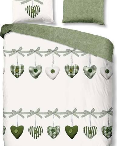 Zeleno-bílé bavlněné povlečení Good Morning Hearts, 200 x 200 cm