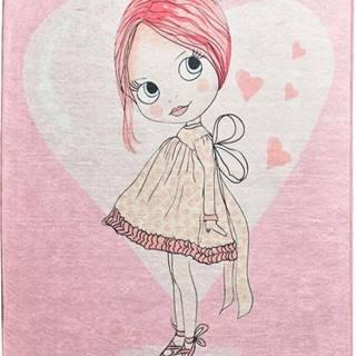 Růžový dětský protiskluzový koberec Chilai Pretty,140x190cm