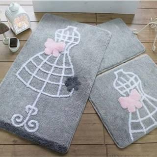 Sada tří šedých koupelnových předložek s motivem šatů Knit Knot