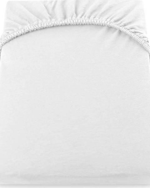 DecoKing Bílé elastické prostěradlo DecoKing Amber Collection, 140/160 x 200 cm