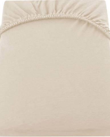 Béžové elastické bavlněné prostěradlo DecoKing Amber Collection, 120/140 x 200 cm