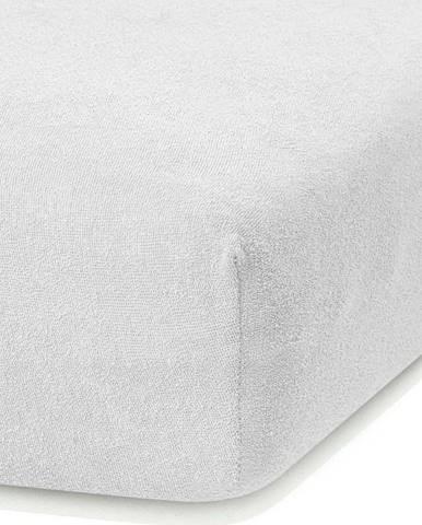 Bílé elastické prostěradlo s vysokým podílem bavlny AmeliaHome Ruby, 100/120 x 200 cm