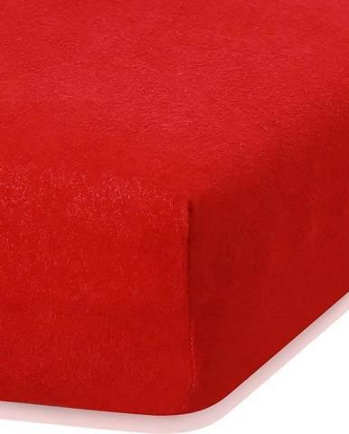 Červené elastické prostěradlo s vysokým podílem bavlny AmeliaHome Ruby, 140/160 x 200 cm