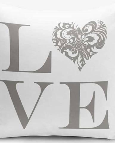 Povlak na polštář s příměsí bavlny Minimalist Cushion Covers Love Grey,45x45cm