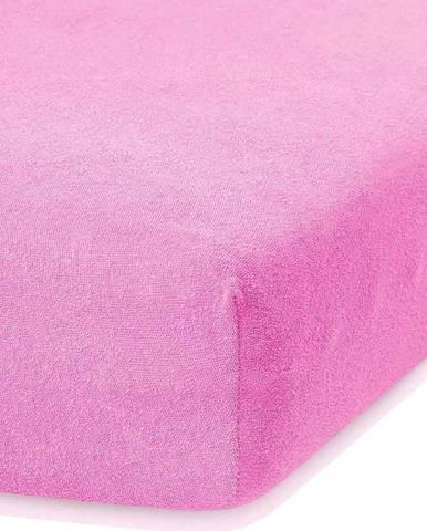 Růžové elastické prostěradlo s vysokým podílem bavlny AmeliaHome Ruby, 100/120 x 200 cm