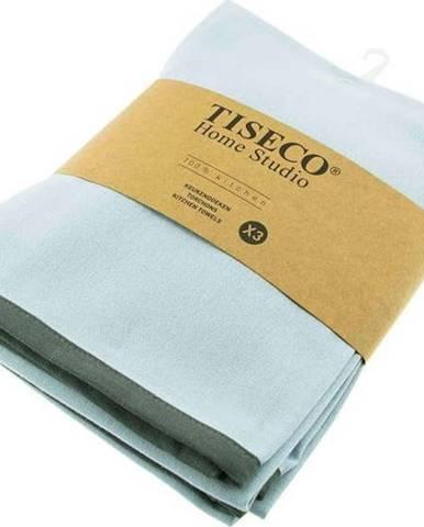 Sada 3 tyrkysově modrých bavlněných utěrek Tiseco Home Studio, 50 x 70 cm