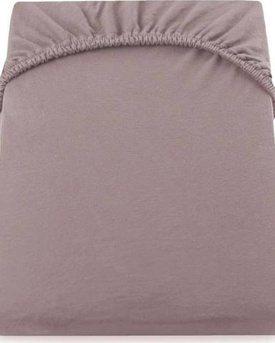Světle hnědobéžové elastické prostěradlo DecoKing Nephrite, 180/200 x 200 cm