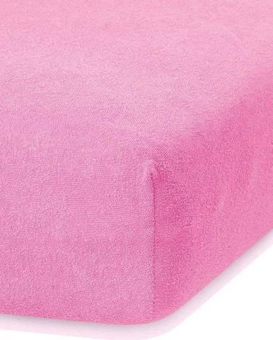 Tmavě růžové elastické prostěradlo s vysokým podílem bavlny AmeliaHome Ruby, 140/160 x 200 cm