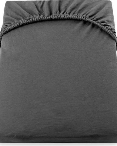 Tmavě šedé elastické bavlněné prostěradlo DecoKing Amber Collection, 200/220 x 200 cm