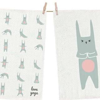 Set 2 kusů utěrek z bavlny Butter Kings Love Yoga, 70 x 50 cm