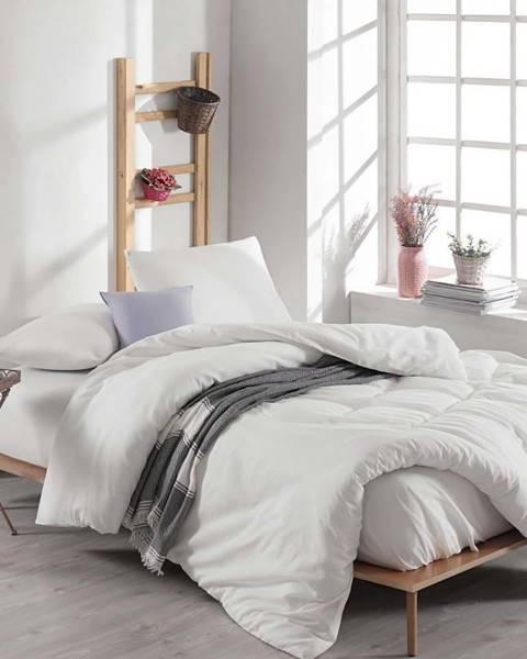 EnLora Home Bílé bavlněné povlečení s prostěradlem na dvoulůžko Anna, 200 x 220 cm