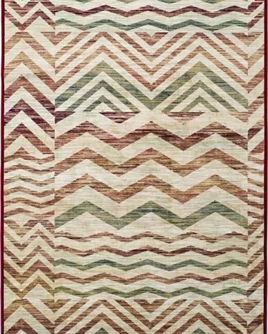 Béžovo-vínový koberec z viskózy Universal Belga Zig Zag, 100x140cm
