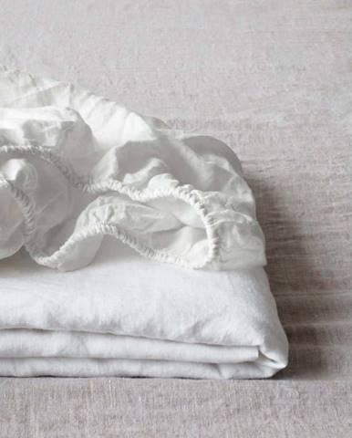 Bílé lněné elastické prostěradlo Linen Tales, 90 x 200 cm