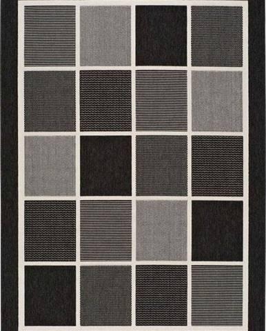 Černošedý venkovní koberec Universal Nicol Squares, 80x150cm
