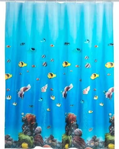 Modrý sprchový závěs Wenko Ocean, 180x200cm