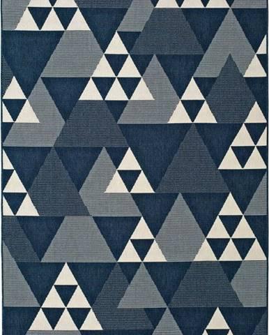 Modrý venkovní koberec Universal Clhoe Triangles, 120 x 170 cm