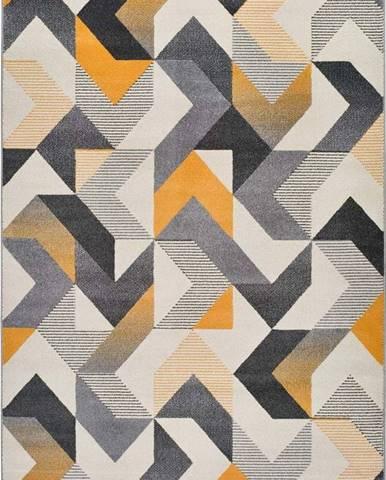 Oranžovo-šedý koberec Universal Gladys Abstract, 60x120cm