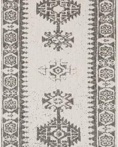 Šedo-krémový venkovní koberec Bougari Duque, 80 x 250 cm