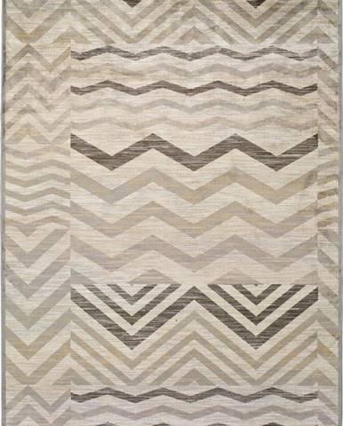 Šedý koberec z viskózy Universal Belga Zig Zag, 100 x 140 cm