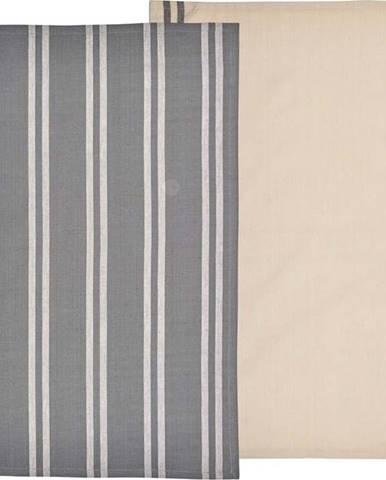 Set 2 béžovo-šedých utěrek z bavlny Södahl, 50x70cm